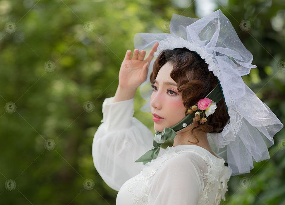 【一個期待被呵護著的洋娃娃】蕾絲花帽/玻璃櫥窗娃娃