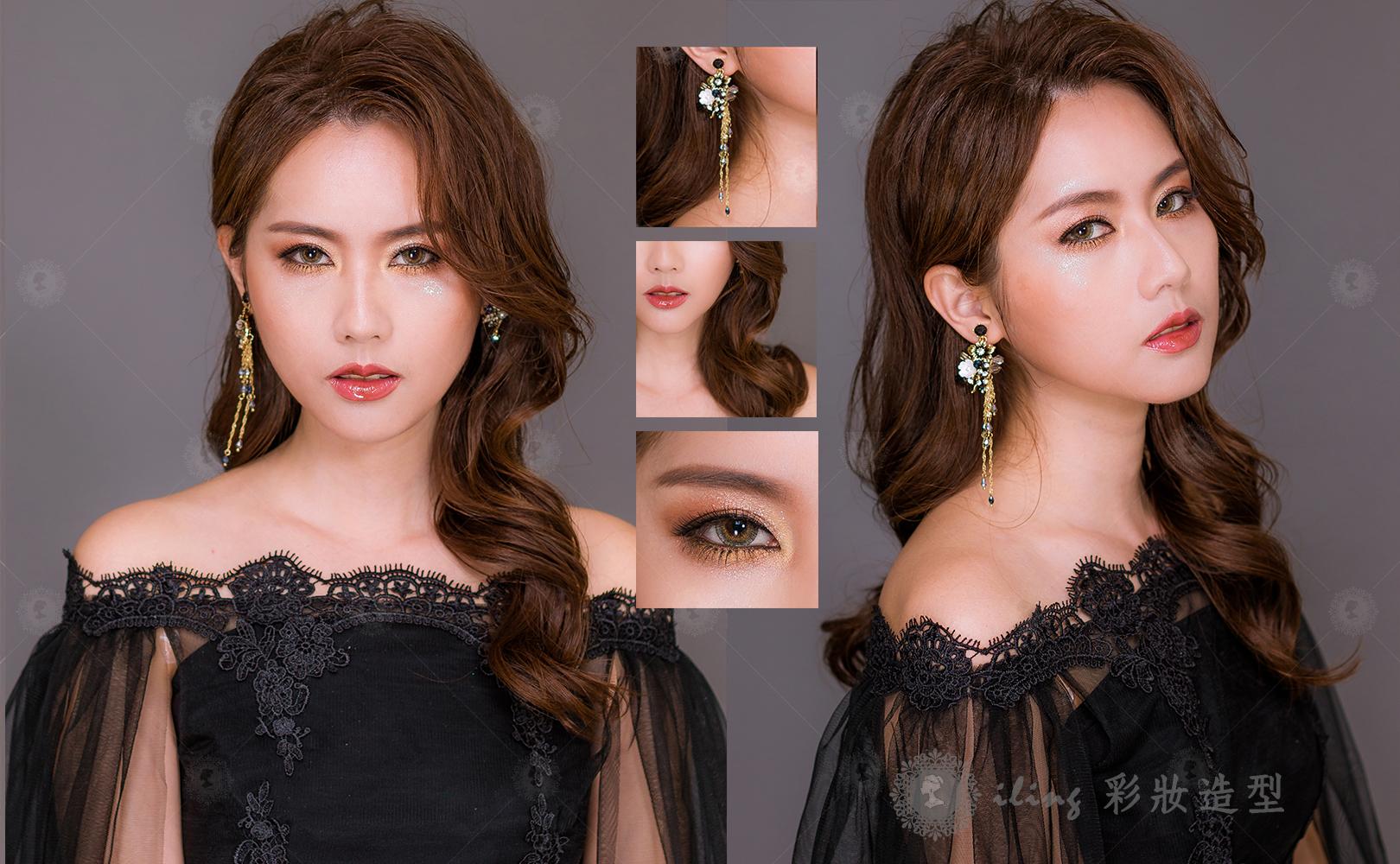 歐美妝容,歐美髮型作品歐染渲金1.jpg